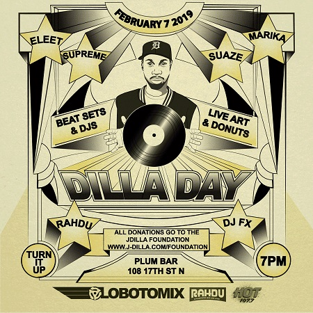 Dilla Day 2019. Presented by DJ Rahdu and LBMX.